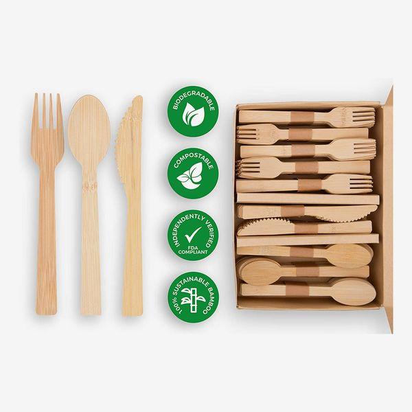 Ökabode Disposable Bamboo Utensils, 200 Pieces