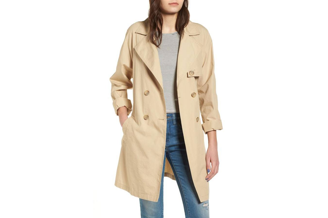 BP. Double Breasted Belted Trench Coat