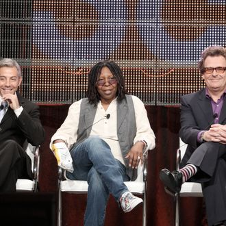 PASADENA, CA - JULY 30: Executive producers Tom Leonardis and Whoopi Goldberg with host Greg Proops of the Science Channel speak during the Cable portion of the 2009 Summer Television Critics Association Press Tour at the Ritz-Carlton Huntington Hotel on July 30, 2009 in Pasadena, California. (Photo by Frederick M. Brown/Getty Images) *** Local Caption *** Greg Proops;Whoopi Goldberg;Tom Leonardis