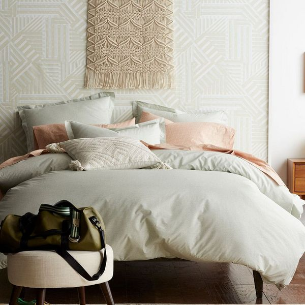Cstudio Home Marble Percale Duvet Cover and Sham in Seafoam