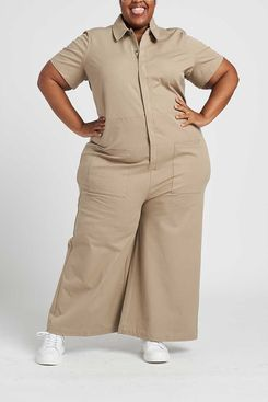 Universal Standard Kate Stretch Cotton Twill Jumpsuit (Taupe)