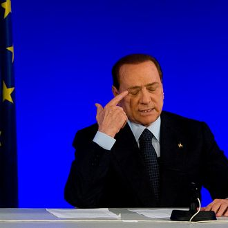 Italian Prime Minister Silvio Berlusconi attends a press conference during the second day of the G20 Summit on November 4, 2011 in Cannes, France.