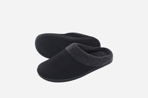 HomeIdeas Men's Woolen Fabric Memory Foam Anti-Slip House Slippers,