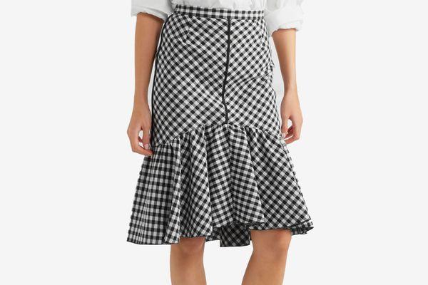 Tome Ruffled gingham jacquard skirt