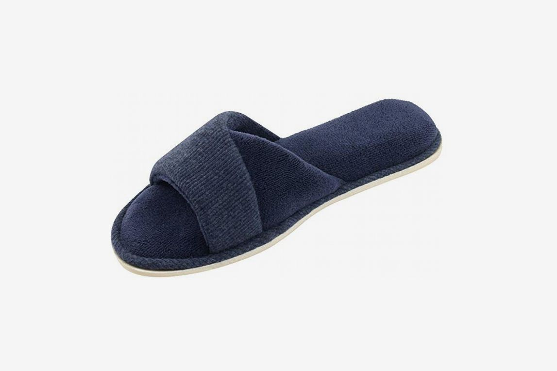HomeIdeas Women's Open Toe Terrycloth Slide House Slippers