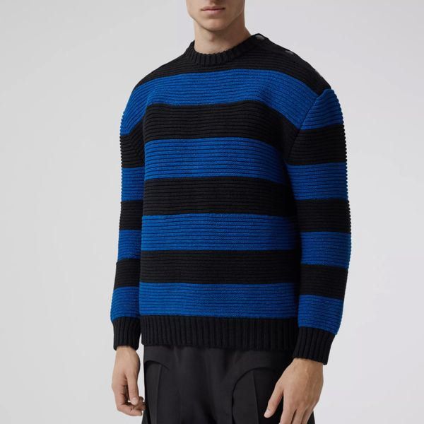 Burberry Rib Knit Striped Technical Cotton Blend Sweater