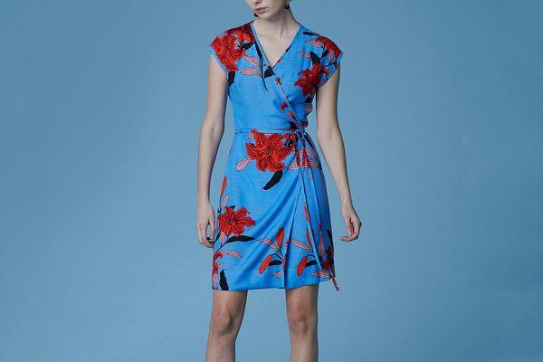 Diane von Furstenberg Side Tie Wrap Dress, Argos Hydrangea