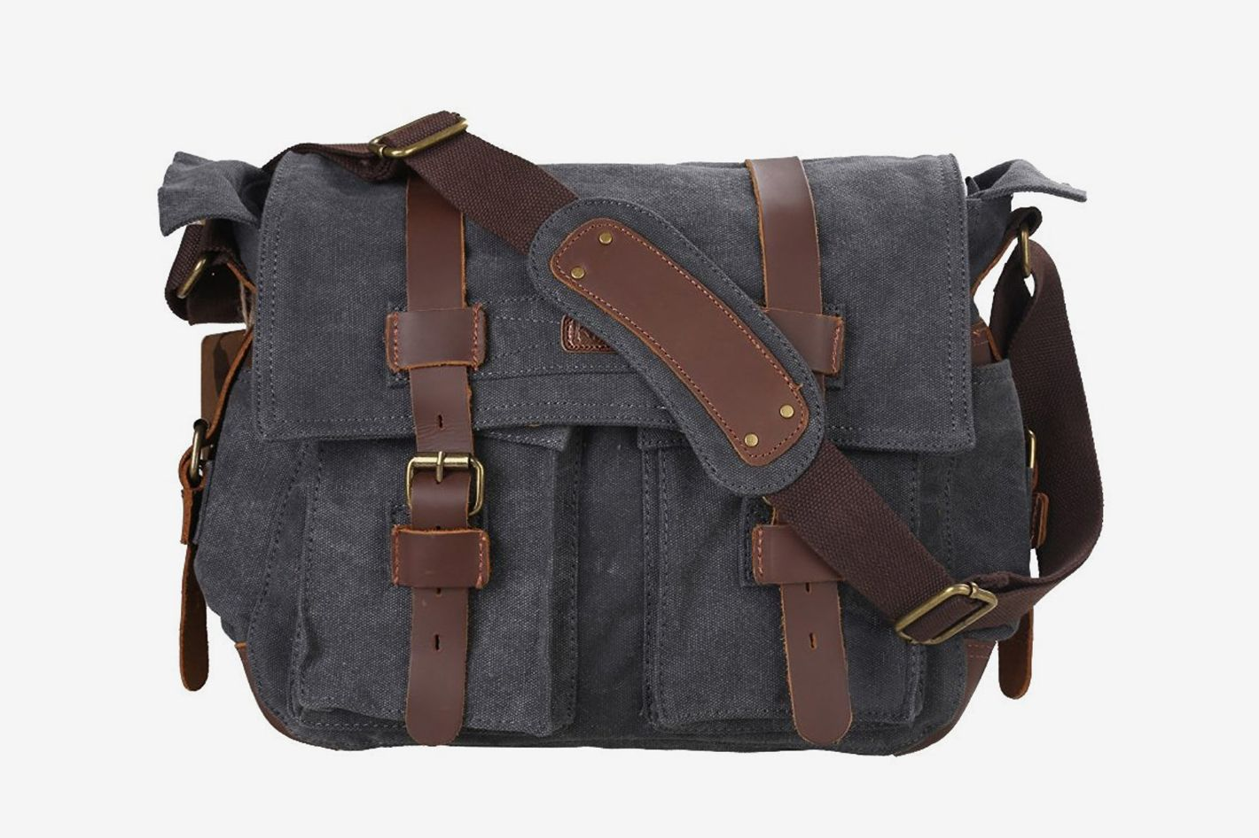 60f13c0a5c Kattee Leather Canvas Camera Bag Vintage DSLR SLR Messenger Shoulder Bag at  Amazon
