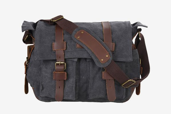 Kattee Leather Canvas Camera Bag Vintage DSLR SLR Messenger Shoulder Bag