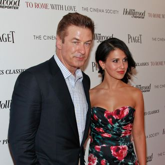 Actor Alec Baldwin and Hilaria Thomas attend The Cinema Society with the Hollywood Reporter & Piaget and Disaronno screening of
