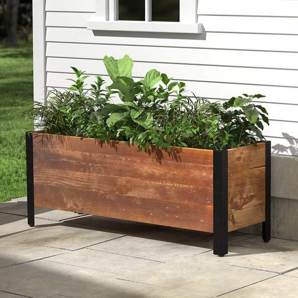 Amazon Basics Recycled Wood Rectangular Garden Planter