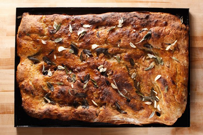 Pizza bianca with sage, garlic, and olive oil.