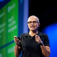 Satya Nadella, president, Server and Tools Business, Microsoft, addresses the crowd during a keynote at the Microsoft 2013 Build Developers Conference in San Francisco. He unveiled new Windows Azure platform features and improvements to the developer community.