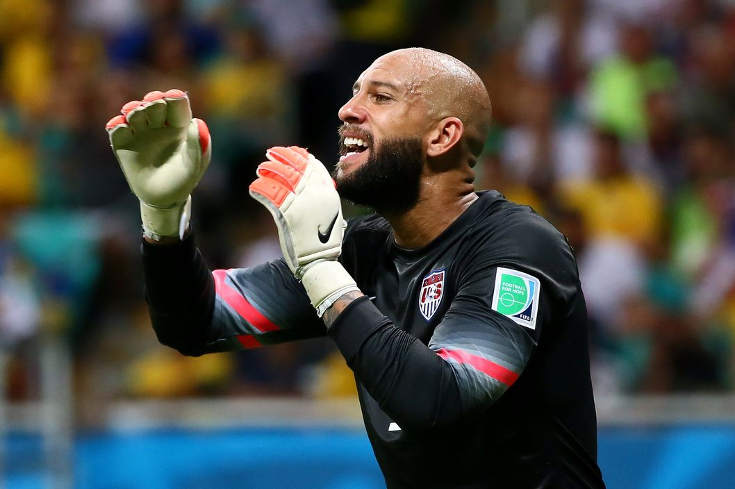 Tim Howard of the United States reacts during the 2014 FIFA World Cup Brazil Round of 16 match between Belgium and the United States at Arena Fonte Nova on July 1, 2014 in Salvador, Brazil.