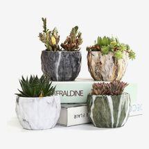 Sun-E Modern Style Marbling Ceramic Flower Pots, Set of 4