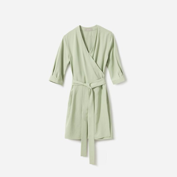 Everlane The Japanese GoWeave Long-Sleeve Mini Wrap Dress