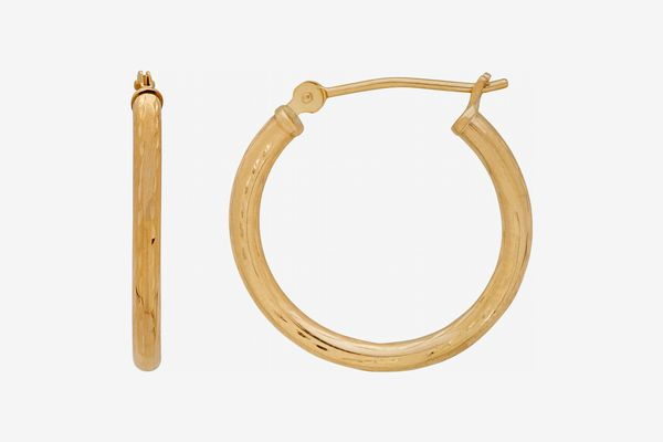 10KT Yellow Gold Diamond-Cut 2x20MM Hoop Earrings
