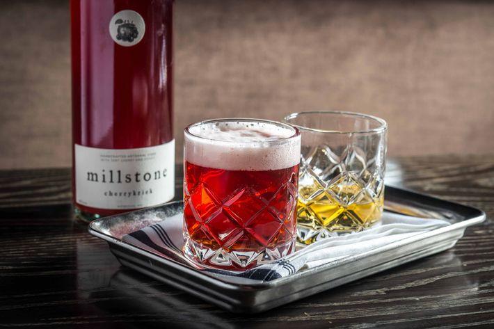 All about the tart fruit: a 750-milliliter bottle of Millstone Cherrykriek, a cider brewed with sour cherries, with Manastirka Slivovitz, a plum brandy ($44).