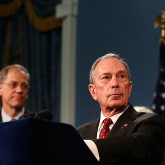 New York City Mayor Michael Bloomberg speaks to the media at New York's City Hall after a ruling invalidating the city's plan to ban large sugary drinks from restaurants and other eateries, March 11, 2013.