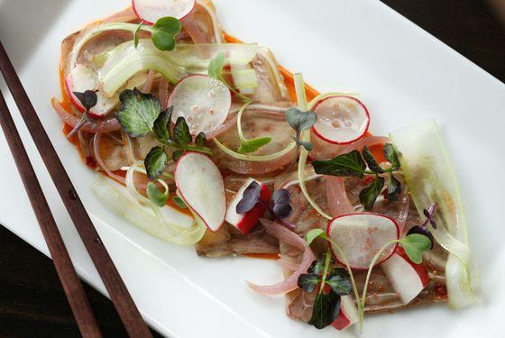 Pork-trotter terrine, celery, red onion, fermented shrimp sauce.