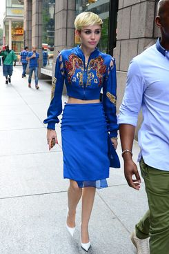 Miley Cyrus is seen arriving at Sony Studios on June 27, 2013 in New York City.