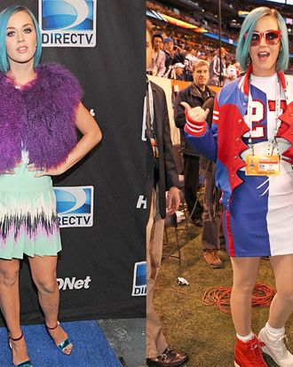 Katy Perry at the Celebrity Beach Bowl (left); the singer at the Superbowl pre-game show (right).