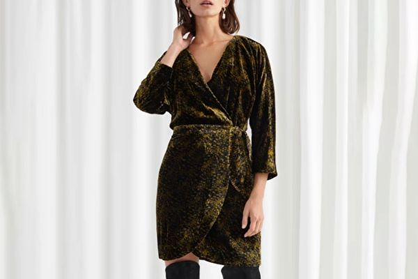 & Other Stories Tiger Print Velvet Mini Wrap Dress