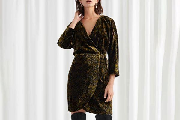 & Other Stories Tiger Print Velvet Mini Wrap Dress