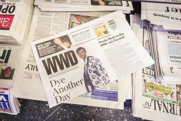 A copy of <em>WWD</em> on the newsstand.