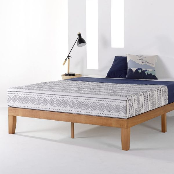 Mellow Naturalista Classic 12 Inch Solid Wood Platform Bed with Wooden Slats