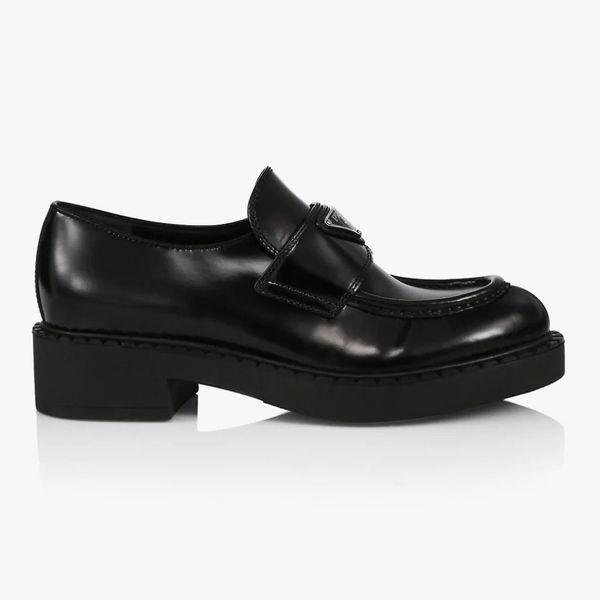 Prada Logo Leather Loafers