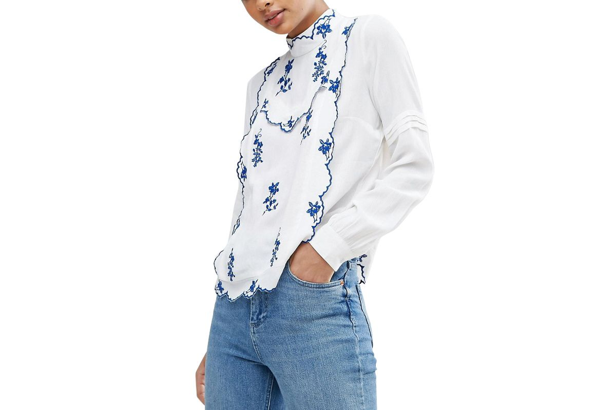 ASOS Blouse With Blue Embroidery