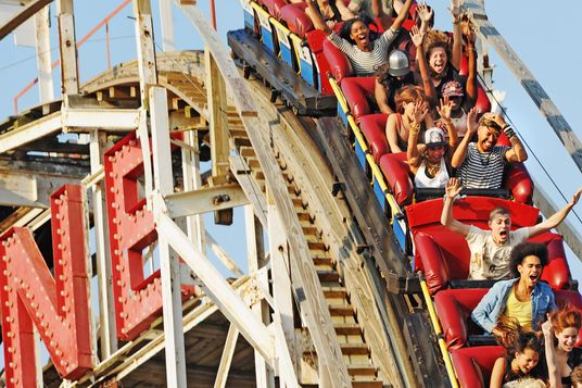 NEW YORK, NY - AUGUST 29:  Beyonce rides the Cyclone at Coney Island while filming a muisc video on August 29, 2013 in New York City.  (Photo by Bobby Bank/WireImage)