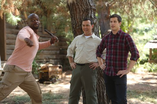 "BROOKLYN NINE-NINE: L-R: Terry Crews, Joe Lo Truglio and Andy Samberg in the ""Into the Woods"" episode of BROOKLYN NINE-NINE airing Sunday, Nov. 18 (8:30-9:00 PM ET/PT) on FOX. ©2015 Fox Broadcasting Co. Cr: FOX"