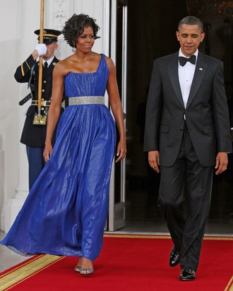 Michelle Obama in one of Peter Soronen's designs.