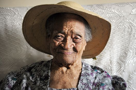 Irenise Moulonguet, born as Lermain, poses on October 19 2012 in Le Morne Rouge, in the French overseas island of Martinique. This 111-year-old woman has become France's oldest citizen, as the National Institute for Health and Medical Research (Inserm) said the day before. She was born on november 6, 1900, in Basse-Pointe, and will celebrate her 112th birthday in a few days.    AFP PHOTO JEAN-MICHEL ANDRE        (Photo credit should read JEAN-MICHEL ANDRE/AFP/Getty Images)