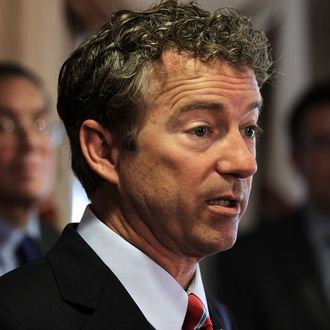 U.S. Senator Rand Paul (R-KY) speaks during a news conference June 13, 2013 at the Capitol Hill Club on Capitol Hill in Washington, DC. Senator Paul was joined by lawmakers and other groups to discuss the National Security Agency's surveillance program.