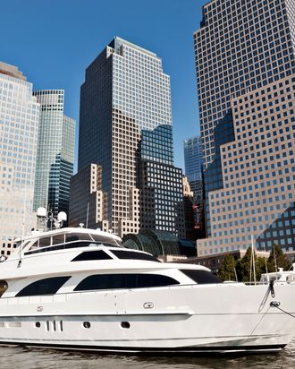 Luxury yacht in front of World Financial Center, NYC