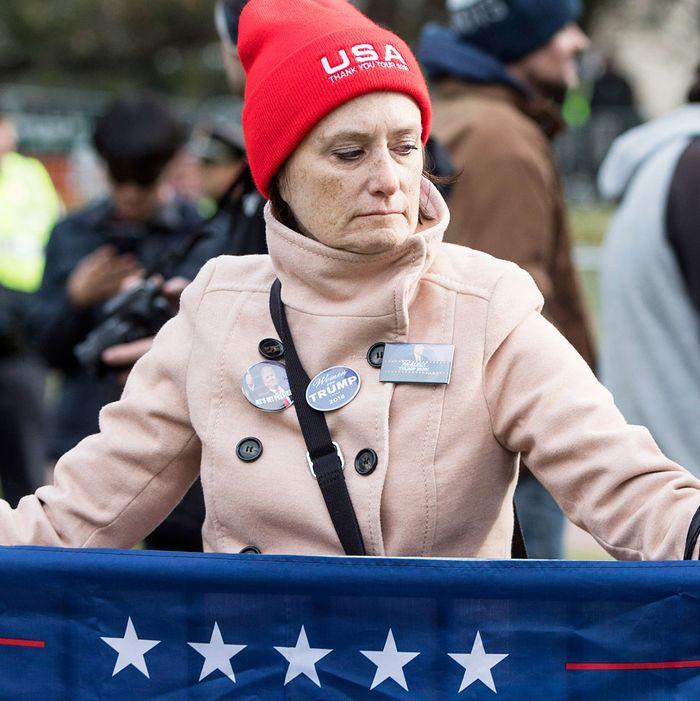 A woman attending an alt-right-organized free speech demonstration in Boston
