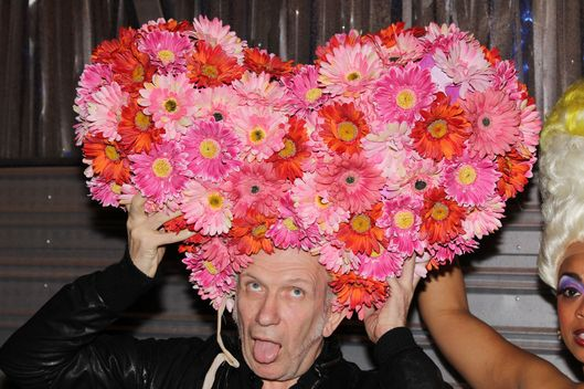 "NEW YORK, NY - MARCH 18:  *Exclusive Coverage* Designer Jean Paul Gaultier poses backstage at the hit musical ""Priscilla, Queen of The Desert"" on Broadway at The Palace Theater on March 18, 2012 in New York City.  (Photo by Bruce Glikas/FilmMagic)"