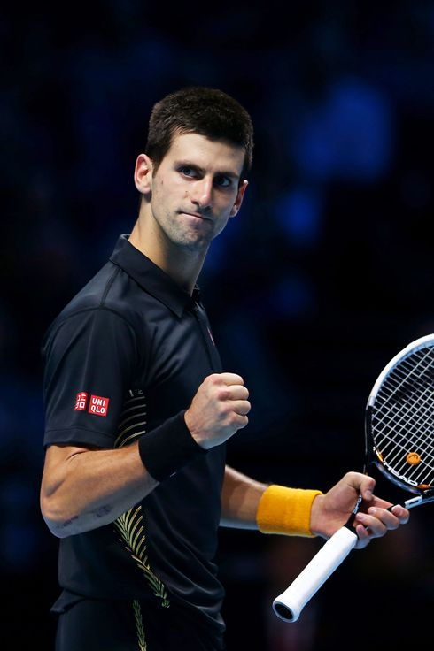 Novak Djokovic of Serbia celebrates a point during his men's singles semifinal match against Juan Martin Del Potro of Argentina during day seven of the ATP World Tour Finals at O2 Arena on November 11, 2012 in London, England.