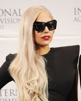NEW YORK, NY - NOVEMBER 21: Lady Gaga attends Nespresso Press Room at the 39th International Emmy Awards at the Hilton New York on November 21, 2011 in New York City. (Photo by Dimitrios Kambouris/Getty Images for Nespresso)