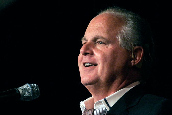"NOVI, MI - MAY 3: Radio talk show host and conservative commentator Rush Limbaugh speaks at ""An Evenining With Rush Limbaugh"" event May 3, 2007 in Novi, Michigan. The event was sponsored by WJR radio station as part of their 85th birthday celebration festivities. (Photo by Bill Pugliano/Getty Images) *** Local Caption *** Rush Limbaugh"