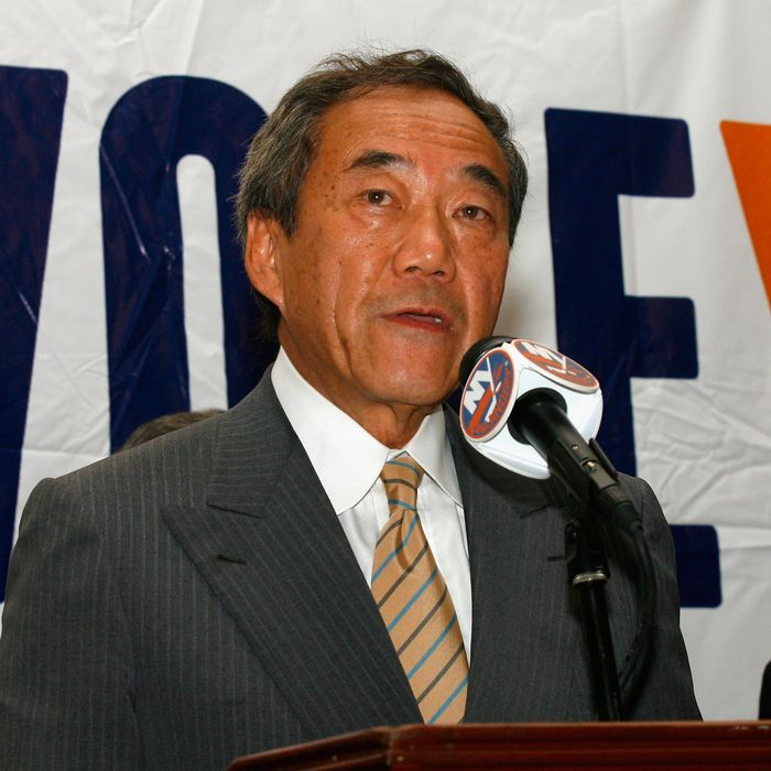 UNIONDALE, NY - AUGUST 01: Owner Charles Wang of the New York Islanders addresses the media to announce that the new arena voter referendum failed on August 1, 2011 in Uniondale, New York. Wang has said that without a new arena, he may have no choice but to move the team out of Nassau County. (Photo by Andy Marlin/Getty Images)