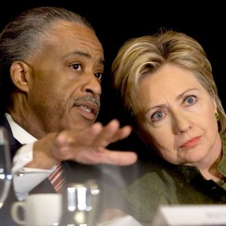 NEW YORK - APRIL 18: Reverend Al Sharpton (L) and Democratic presidential hopeful Senator Hillary Rodham Clinton (D-NY) confer during the Ninth Annual National Action Network Convention, April 18, 2007 in New York City. Democratic presidential candidate Senator Barack Obama (D-IL) is scheduled to attend tomorrow. (Photo by Stephen Chernin/Getty Images) *** Local Caption *** Al Sharpton;Hillary Rodham Clinton