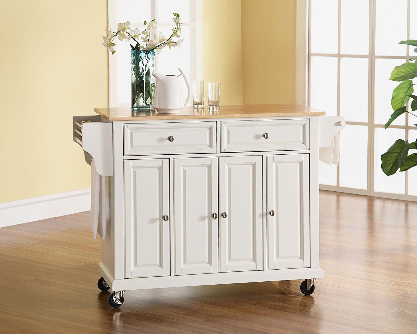 Crosley Furniture Rolling Kitchen Island With Natural Wood Top