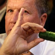 GOP Presidential Candidate John Kasich Makes Campaign Stop At A New York City Deli