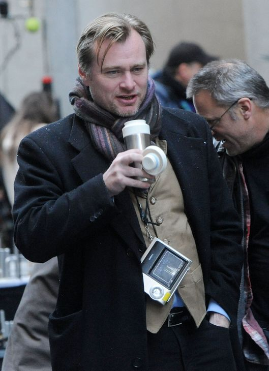 "NEW YORK, NY - NOVEMBER 06:  Director Christopher Nolan seen on location for ""The Dark Knight Rises"" on the streets of Manhattan on November 6, 2011 in New York City.  (Photo by Bobby Bank/WireImage)"