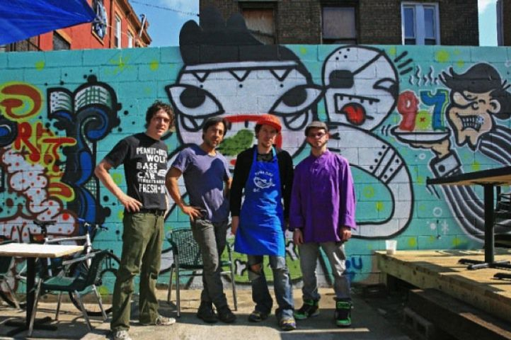 Warner, second from right, in Bed-Stuy last year.