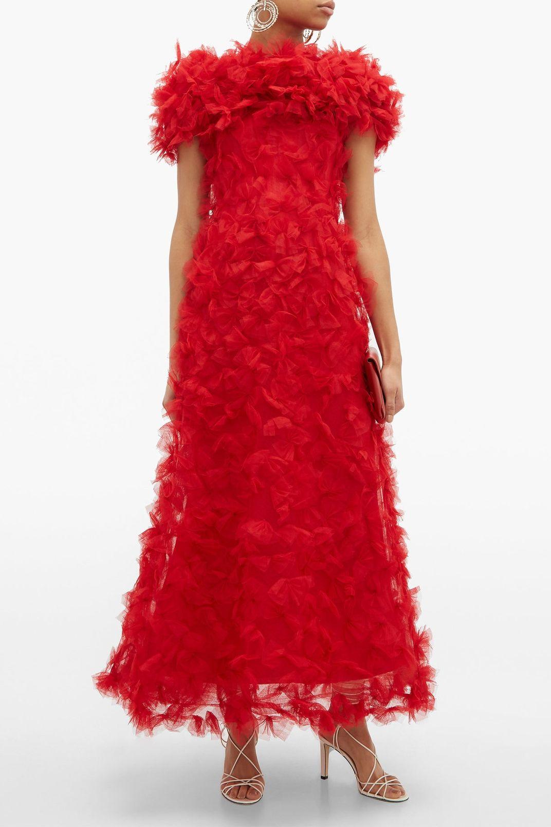 Rodarte Rosette-Appliqué Tulle Gown